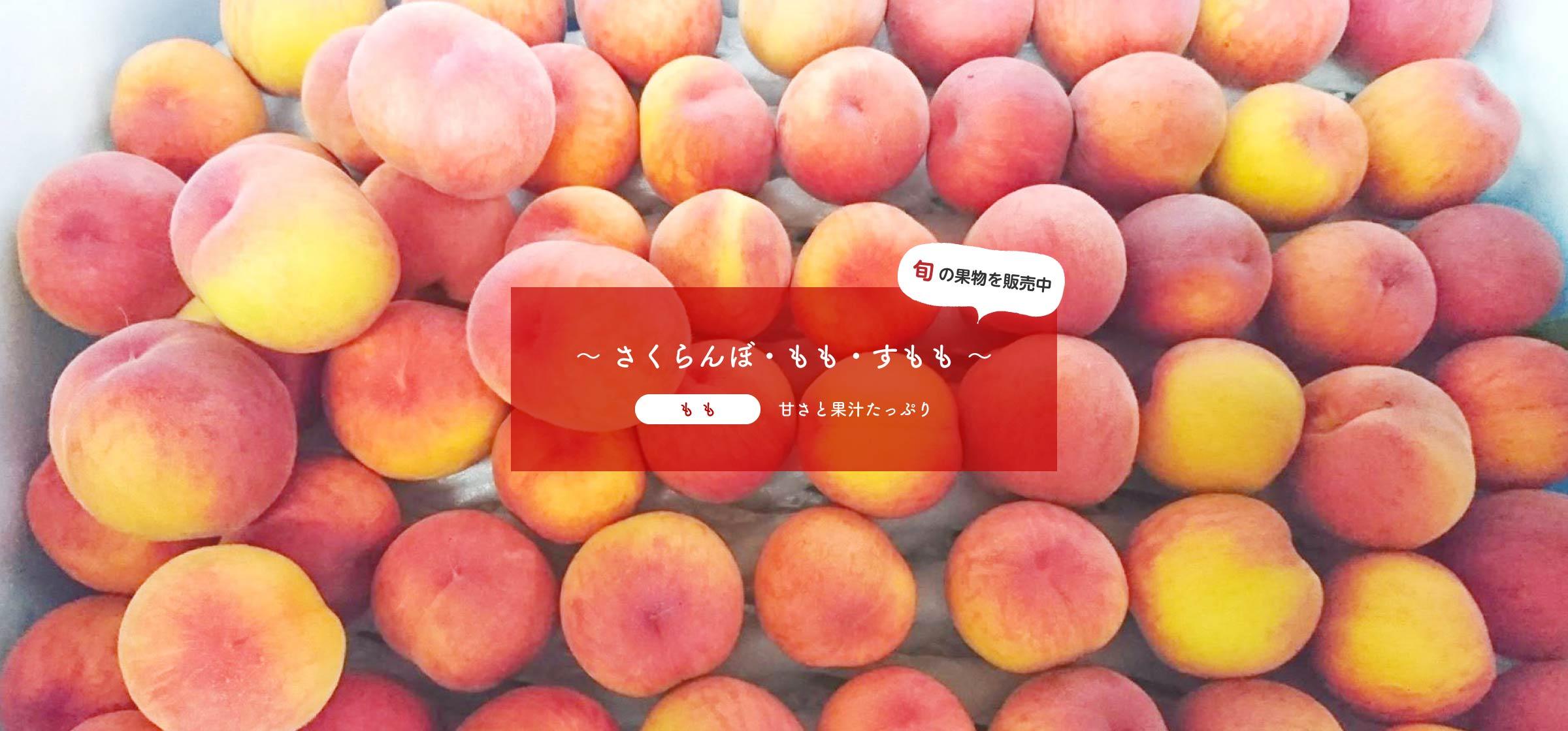 旬の果物を販売中~ さくらんぼ、もも、すもも ~もも:甘さと果汁たっぷり